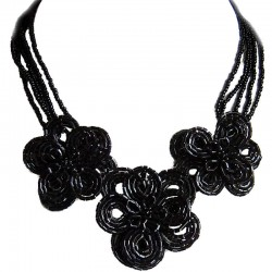 Handcrafted Fashion Wedding Costume Jewellery Gift, Large Black Beaded Flower Statement Multi-Strand Bead Necklace