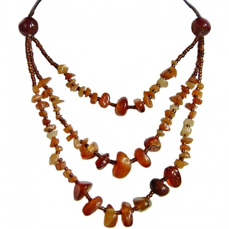 Costume Jewellery Accessories, Three Strand Necklaces, Fashion women Gifts, Carnelian Natural Stone Multi Layer Necklace
