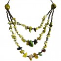 Yellow Chrysoprase Natural Stone Multi Layer Necklace