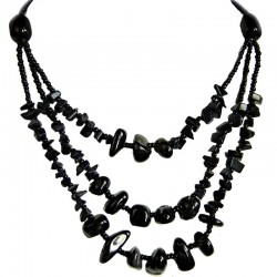 Costume Jewellery Accessories, Three Strand Necklaces, Fashion women Gifts, Black Onyx Natural Stone Multi Layer Necklace