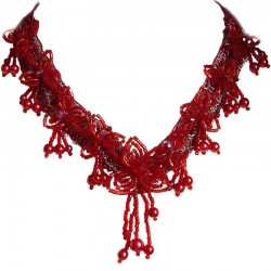 Red Flower Angel Floral Bead Necklace