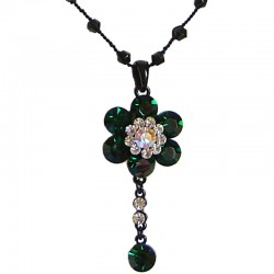 Dark Green Diamante Cluster Flower bead Sting Necklace