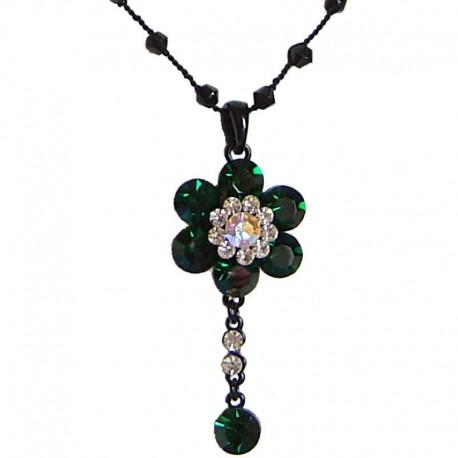 Costume Jewellery Accessories, Fashion Women Girls Small Dainty Gift, Dark Green Diamante Cluster Flower bead Sting Necklace