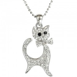 Women Classic Costume Jewellery Accessories, Cute Fashion Girls Dainty Small Gift, Clear Diamante Kitty Cat Pendant Neckla