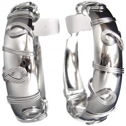 Silver Fashion Wave Large Hoop Earrings