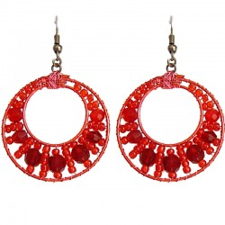 Handmade Bead Costume Jewellery Accessories, Women Handcrafted Dainty Small Gift, Red Beaded Hoop Hook Drop Earrings