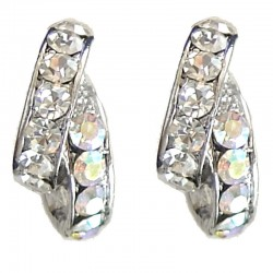 Clear & Rainbow AB Diamante Double Semi Hoop Earrings