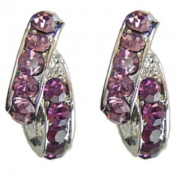 Lilac & Purple Diamante Double Semi Hoop Earrings