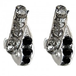 Grey & Black Diamante Double Semi Hoop Earrings