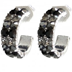 Black Diamante Three Quarter Circular Hoop Earrings
