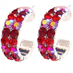 Red Diamante Three Quarter Circular Hoop Earrings
