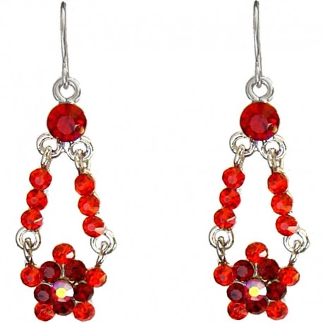 Bling fashion Costume Jewellery Accessories, Women Girl Small Dainty Gift, Red Diamante Floating Flower Drop Earrings