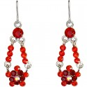 Red Diamante Floating Flower Drop Earrings