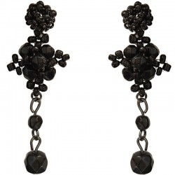 Handmade Bead Costume Jewellery Accessories, Women Handcrafted Dainty Small Gift, Black Beaded Floral Drop Earrings