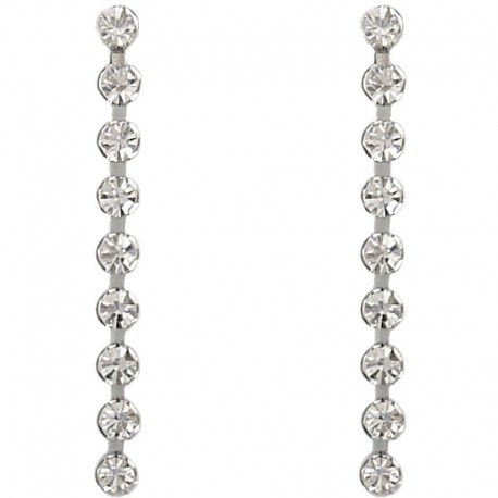 Simple Costume Jewellery, Fashion Women Wedding Party Dress Gift, Classic Clear Diamante Linear Drop Earrings