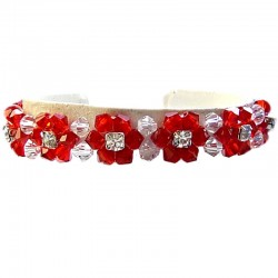 Handcrafted Costume Jewellery, Fashion Women Handmade Gift, Red Glass Crystal Bead Flower Weaving Strap Bracelet