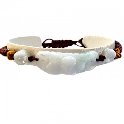 Handcrafted Costume Jewellery, Fashion Women Handmade Gift, Natural Stone White & Green Fortune Jade Brown Cord Bracelet