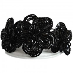 Bead Flower Costume Jewellery, Handmade Gift, Large Black Beaded Daisies Bold Statement Multi Strand Stretch Bracelet