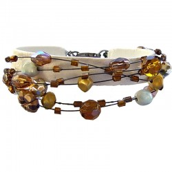Brown Mixed Bead Multi Strand Bracelet