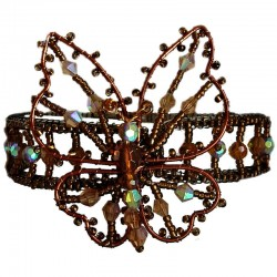 Brown Beaded Cuff Bracelet Butterfly Bangle