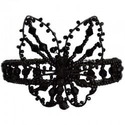 Handcrafted Bead Bridal Costume Jewellery, Wedding Women Bridesmaid Dress Gift, Black Beaded Cuff Bracelet Butterfly Bangle