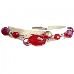 Women's Beaded Costume jewellery, Girls Gift, Fashion Red Bead Magnetic Clasp Wire Bracelet