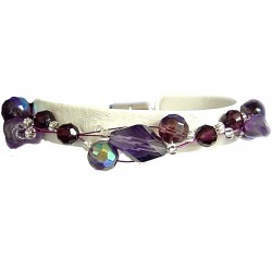 Women's Beaded Costume jewellery, Girls Gift, Fashion Purple Bead Magnetic Clasp Wire Bracelet