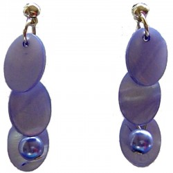 Costume Faux Fake Pearls Jewellery, Fashion Women Accessories, Royal Blue Oval Mother-of-Pearl MOP Drop Earrings