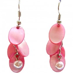 Costume Faux Fake Pearls Jewellery, Fashion Women Accessories, Pink Oval Mother-of-Pearl MOP Cascade Earrings