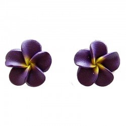Handcrafted Floral Costume Jewellery Earring Studs, Fashion Women Girls Accessories, Purple Daisy Clay Flower Stud Earrings