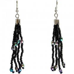 Handcrafted Costume Jewellery, Handmade Fashion Women Girls Accessories, Black Bead Tassel Long Drop Earrings