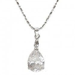 Classic Clear Diamante Teardrop Pendant