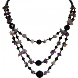 Costume Jewellery Accessories, Fashion Women Gift, Amethyst Natural Stone Purple Black Bead Multi Layer Necklace