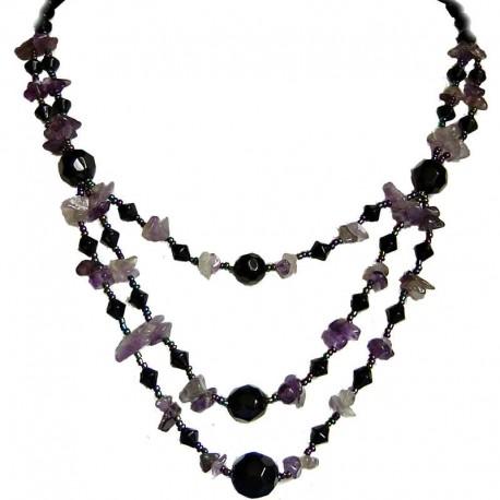 Costume Jewellery Accessories, Fashion Women Gift, Amethyst Natural Stone Purple Black Bead Multi Layer Necklace