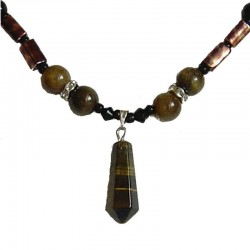 Tigers Eye Natural Stone Point Bead Necklace