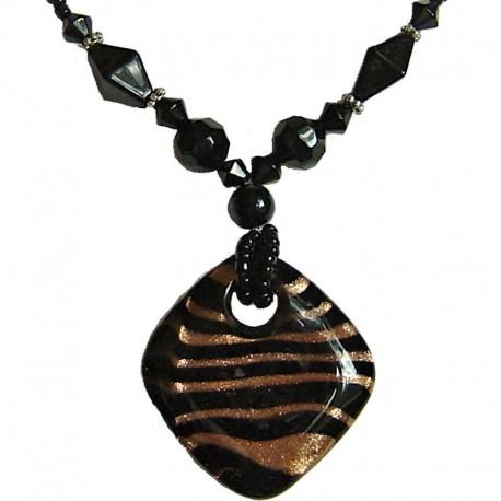 Classic Costume Jewellery Accessories, Fashion Women Girls Gift, Venetian Black Murano Glass Rhombus Bead Necklace
