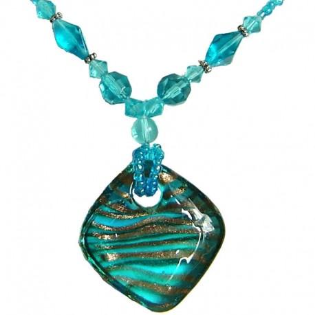 Classic Costume Jewellery Accessories, Fashion Women Girls Gift, Venetian Blue Murano Glass Rhombus Bead Necklace