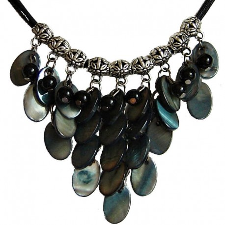 Costume Faux Fake Pearls Jewellery, Fashion Women Accessories, Cascade Black Oval Mother-of-Pearl MOP Cord Necklace