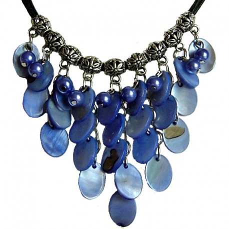 Costume Faux Fake Pearls Jewellery, Fashion Women Accessories, Cascade Royal Blue Oval Mother-of-Pearl MOP Cord Necklace