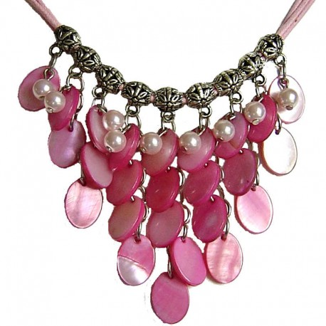 Costume Faux Fake Pearls Jewellery, Fashion Women Accessories, Cascade Pink Oval Mother-of-Pearl MOP Cord Necklace