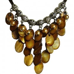 Faux Fake Pearls Costume Jewellery,, Fashion Women Dainty Gift, Cascade Brown Oval Mother-of-Pearl MOP Cord Necklace
