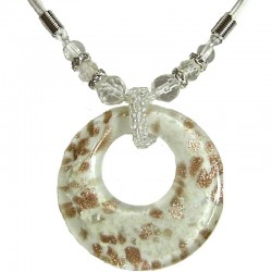 White Murano Glass Circle Loop Bead Cord Necklace