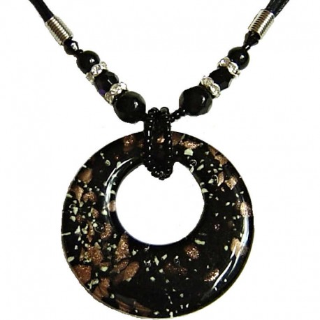 Costume Jewellery Accessories, Fashion Women Girls Gifts, Venetian Black Murano Glass Circle Loop Bead Cord Necklace