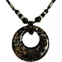 Black Murano Glass Circle Loop Bead Cord Necklace