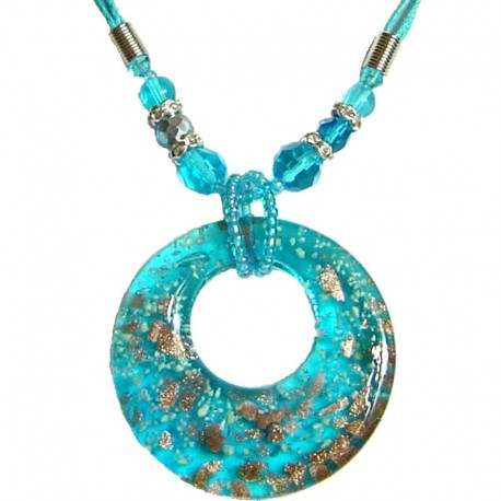 Costume Jewellery Accessories, Fashion Women Girls Gifts, Blue Murano Glass Circle Loop Bead Cord Necklace