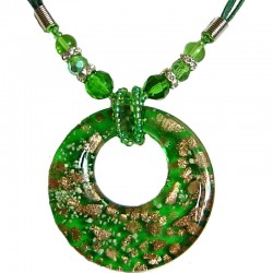 Green Murano Glass Circle Loop Bead Cord Necklace