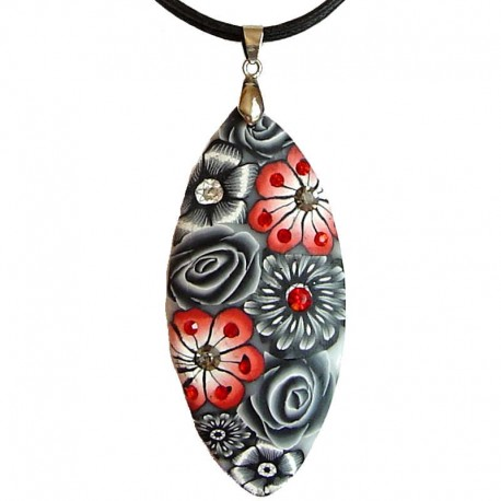 Costume Jewellery Accessories, Rope Necklaces, Fashion women Gifts, Peach-Red & Grey Floral Clay Teardrop Black Cord Necklace