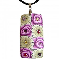 Costume Jewellery Accessories, Rope Necklaces, Fashion women Gifts, Pink & White Floral Clay Rectangle Black Cord Necklace