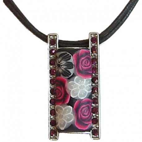 Costume Jewellery Accessories, Rope Necklaces, Fashion women Gifts, Fuchsia Rose Floral Clay Rectangle Black Cord Necklace