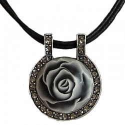 Grey Rose Clay Circle Black Cord Necklace